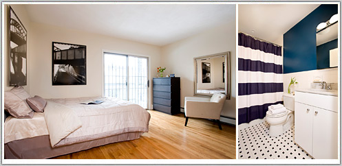 Bedroom, Hardwood Floors, Bathroom Refresh